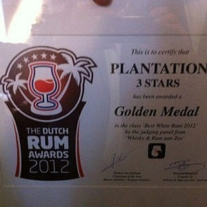 Plantation 3 Stars wint Dutch Rum Award 2012 in zijn klasse