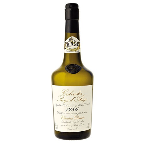 Fles - Calvados - Christian Drouin - Millésime 1986 - Pays d'Auge - 0,7l - 42%