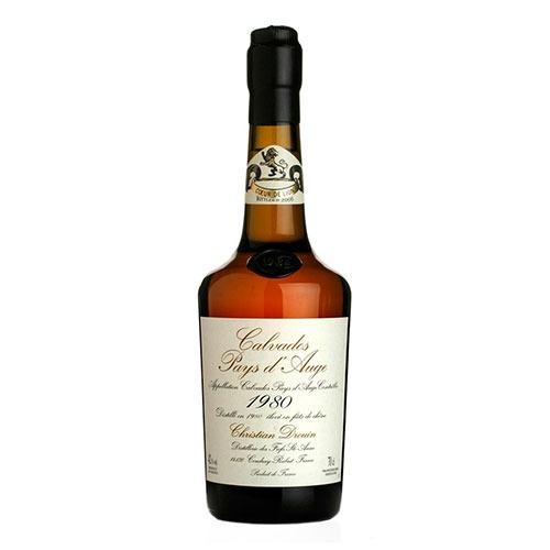 Fles - Calvados - Christian Drouin - Millésime 1980 - Pays d'Auge - 0,7l - 42%
