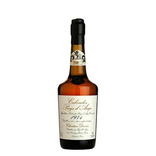 Fles - Calvados - Christian Drouin - Millésime 1974 - Pays d'Auge - 0,7l - 42%