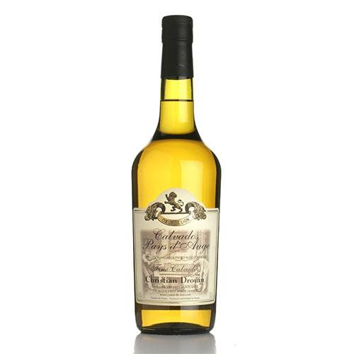 Fles - Calvados - Christian Drouin - Fine - incl. 2 glazen. Pays d'Auge - 0,35l - 40%