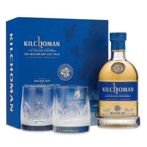 Fles & 2 glazen in mooie case - Whisky - Kilchoman - Machir Bay - 0,7l - 46%