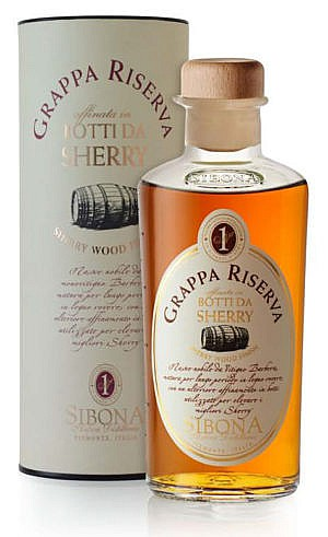 Fles - Grappa - Sibona - Sherry Wood Finish - 0,5l - 44%