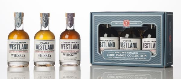 3xfles & case - Whisky - Westland American Single Malt - 3x0,20l - 46%