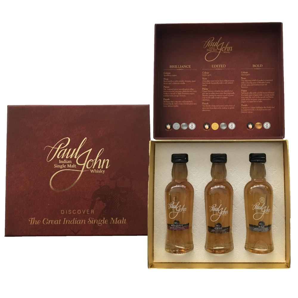 3 pack - Whisky- Paul John - India - Great Single Malt - 3x0,05l - 46%