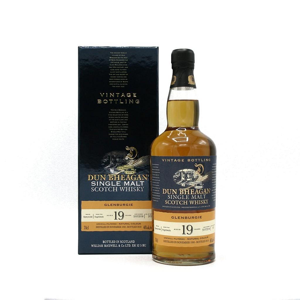 Fles & Case - Whisky - Dun Bheagan - Glenburgie - 19y - 0,7l - 46%