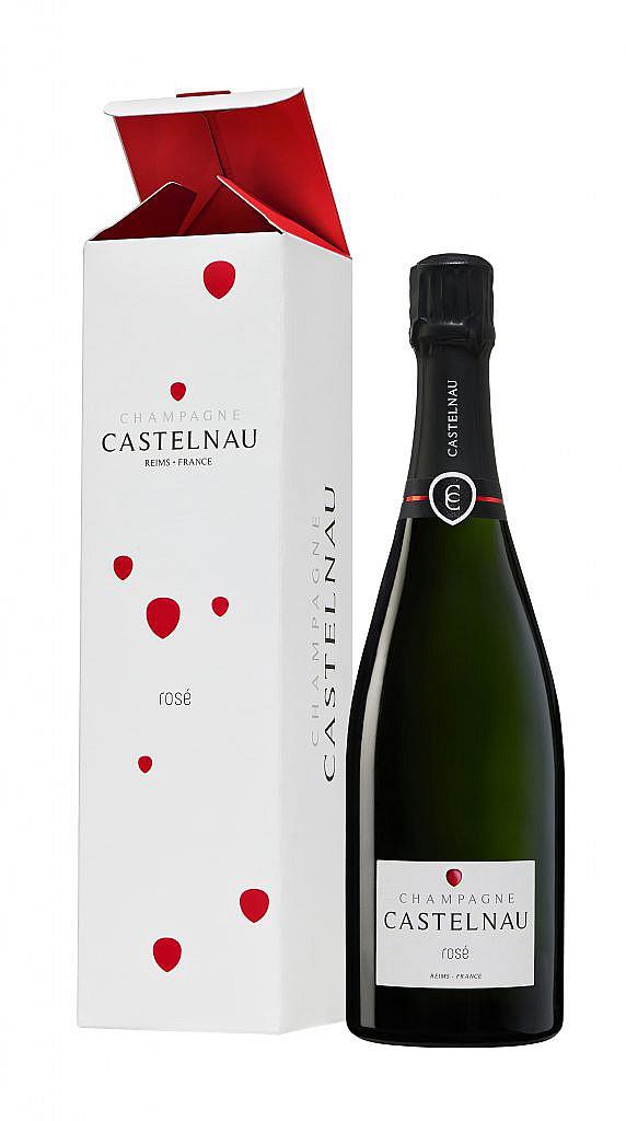 Fles & Giftcase - Wijnen - Champagne - Castelnau - Brut Reserve Rosé - 0,75l