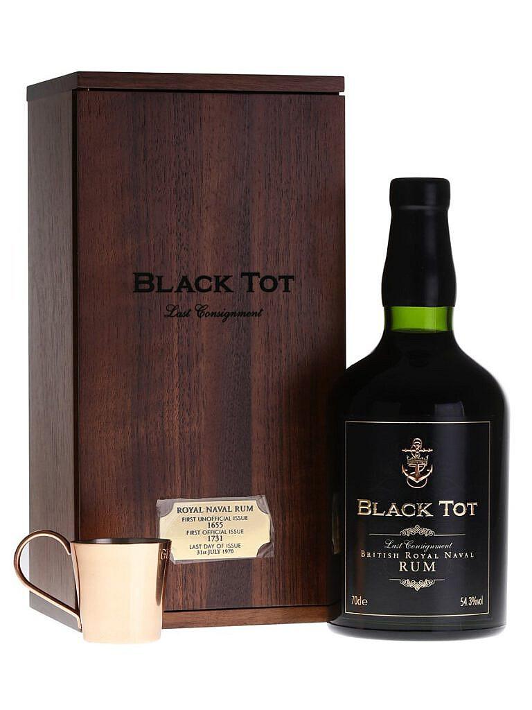 Fles & Wooden case - rum - Black Tot - Last Consignment Rum Navy Strength - 0,7l -54,3%