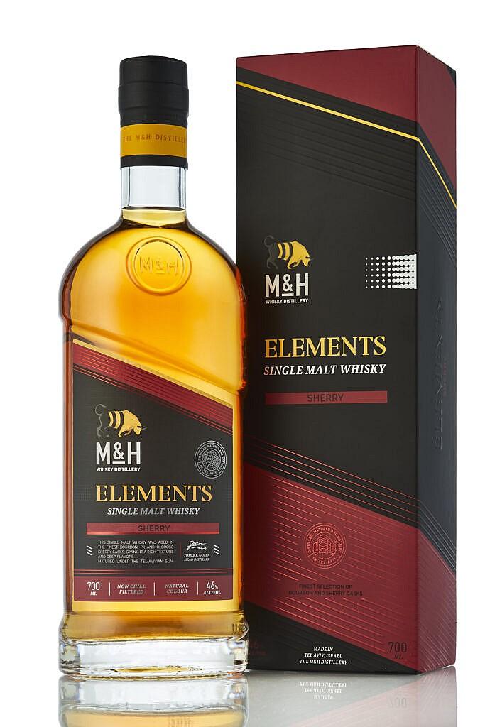Fles & Case - Whisky - Israël - Milk & Honey - Elements Single Malt Whisky Sherry - 46% - 0,7l