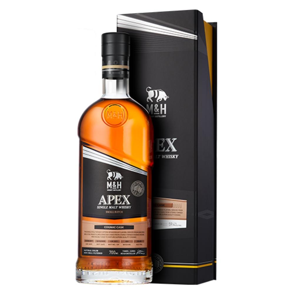 Fles & Case - Whisky - M&H - Apex - Cognac Cask - 0,7l - 49,4